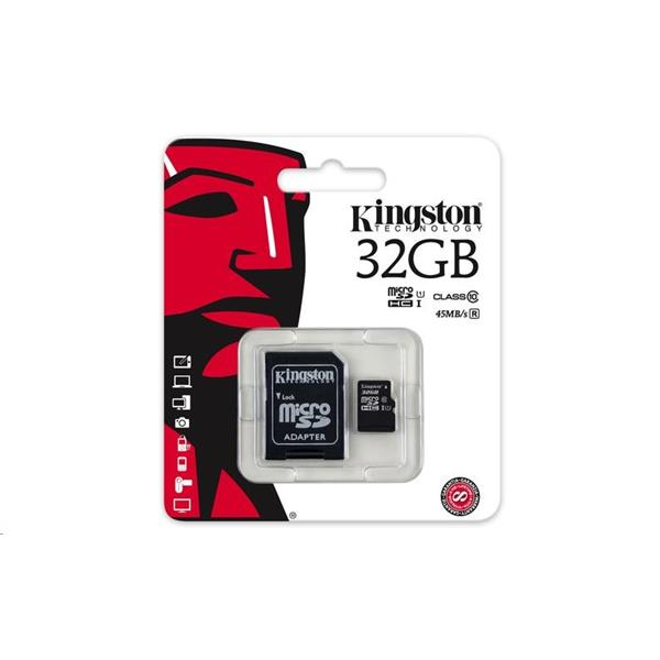 32 GB Micro SDHC + adapter Kingston